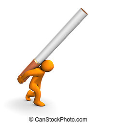 Orange cartoon with a big cigarette, isolated on white.