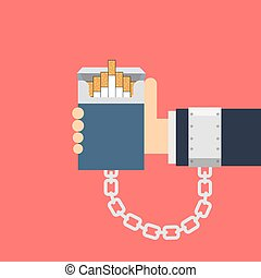 Cigarette addiction - Vector illustration of a hand tied to...