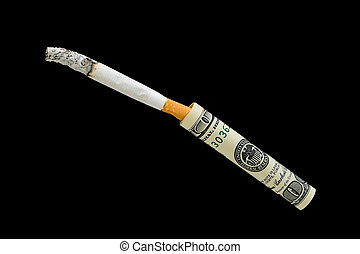 Cigarette and 100 dollars on a black background