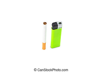 Cigarette and green lighter on white