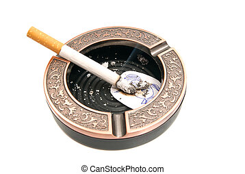 cigarette and portrait of child in ashtray