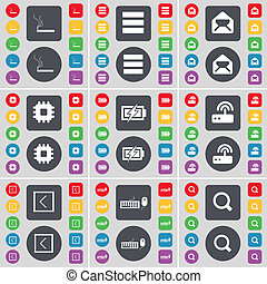 Cigarette, Apps, Message, Processor, Charging, Router, Arrow left, Keyboard, Magnifying glass icon symbol. A large set of flat, colored buttons for your design.