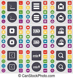 Cigarette, Apps, Message, Processor, Charging, Router, Arrow left, Keyboard, Magnifying glass icon symbol. A large set of flat, colored buttons for your design. Vector