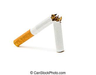 cigarette, blanc, arrière-plan., fumer, non