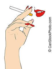 cigarette, bouche