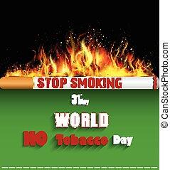 Cigarette burning in fire