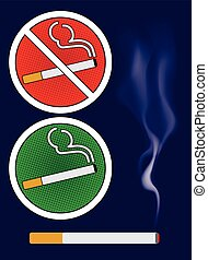 Cigarette burns and smoking area sign Illustration