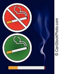 Cigarette burns and smoking area sign Illustration