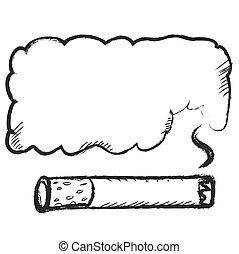 cigarette burns icon doodle with bubble speech smoke, vector icon