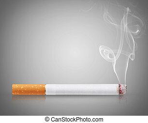 Cigarette burns on gray background