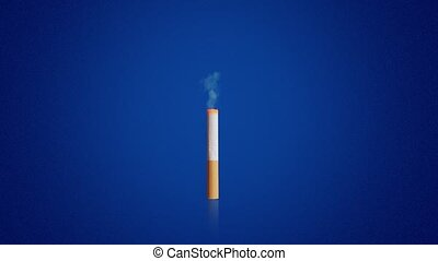 Cigarette with yellow filter and light smoke rising up burns out to end on dark blue background computer generated imagery
