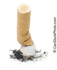 Cigarette But on a white background depictiong unhealthy...