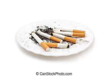 cigarette buts on plate