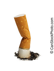 Cigarette Butt and Ash Isolated on White Background.