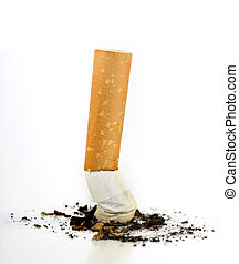 Cigarette butt isolated on white.