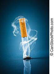 Cigarette butt - No smoking. - No smoking. Cigarette butt on...