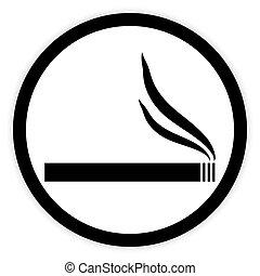 Cigarette button on white.