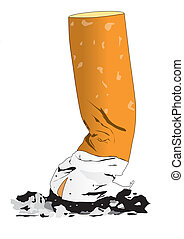 cigarette butts on white background