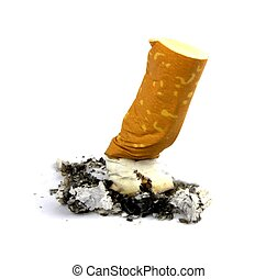 Cigarette butts. Stop smoking concept ,on white background