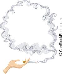 cigarette, cadre, fumée, fond