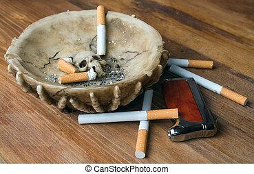 cigarette, cendrier, briquet