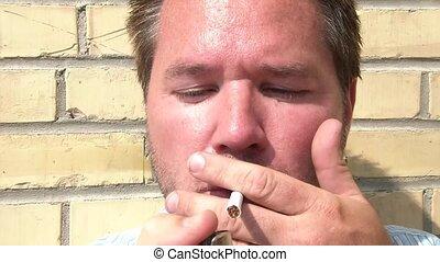 cigarette, closeup, fumées, homme