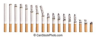 cigarette, défaillance, -, brûlé, temps