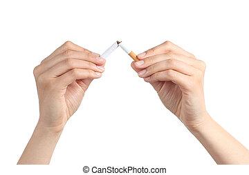 cigarette, femme, rupture, mains