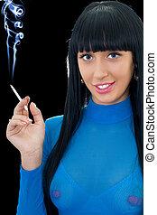 cigarette, femme souriante, portrait