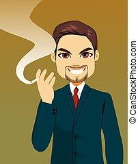 cigarette fumant, tenue, homme affaires