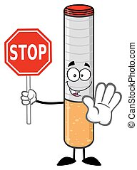 Cigarette Holding A Stop Sign - Electronic Cigarette Cartoon...