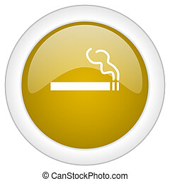 cigarette icon, golden round glossy button, web and mobile app design illustration