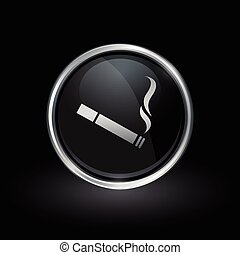 Cigarette icon inside round silver and black emblem