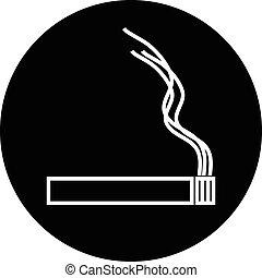 Cigarette icon on white.
