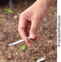 cigarette in hand.