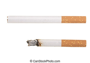 cigarette isolated on white background. Top view