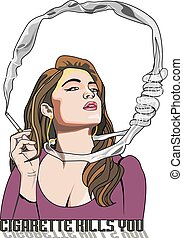 Cigarette Kills You, woman smoking, noose around the neck, vector illustration