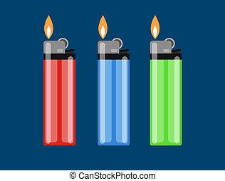 Cigarette lighter  illustration. Cigarette lighter icon set. Cigarette lighter flame. Light  illustration.
