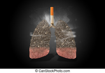 Cigarette, lungs full of ash, concept - Cigarette with lungs...