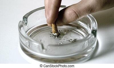 cigarette, main, emp, éteindre