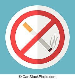 Cigarette, no smoking sign