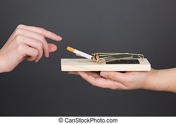 cigarette on a mouse trap