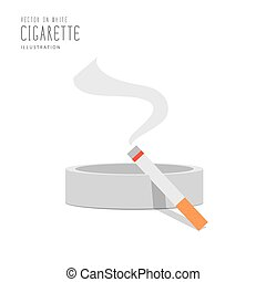 Cigarette on the ashtray flat vector.
