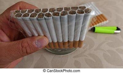 cigarette, ouvert, unbranded, paquet, meute, cigarettes, ...