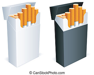 Cigarette pack. - Two cigarette packs with cigarettes.