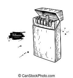 Cigarette pack vector drawing. Opened box sketch. Smoking elemen