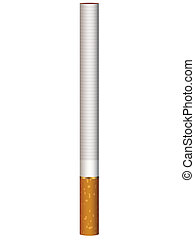 Realistic illustration of one cigarette standing