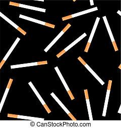 Cigarette seamless on black background