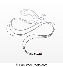 Isolated cigarette lit with smoke rising