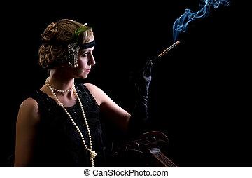 Cigarette smoker in twenties style